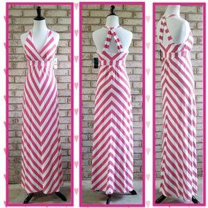 🆕️ Pink & White Chevron Padded Halter Maxi Dress
